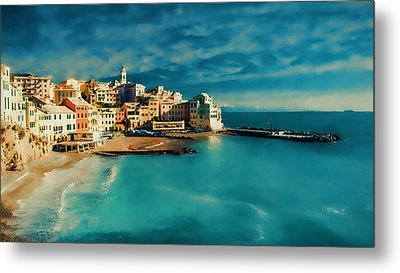 Metal Print featuring the painting Sunset Cinque Terre by Douglas MooreZart