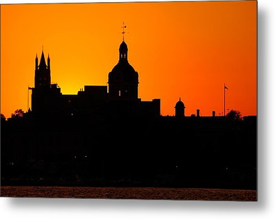 Sunset City Semi-silhouette Metal Print by Paul Wash