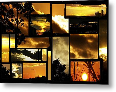 Sunset Collage Metal Print by Cherie Haines