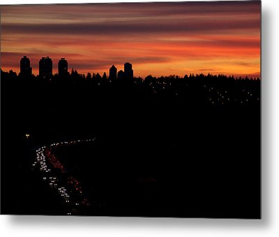 Sunset Commuters Metal Print by Lisa Knechtel
