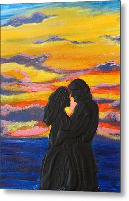 Sunset Couple Metal Print