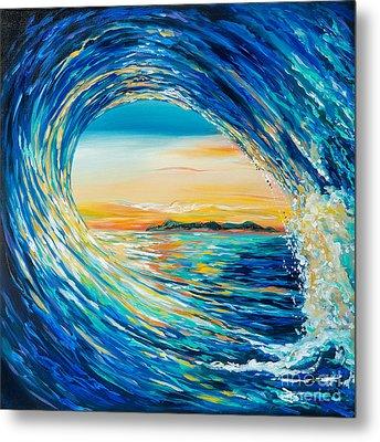 Sunset Curl Metal Print by Linda Olsen