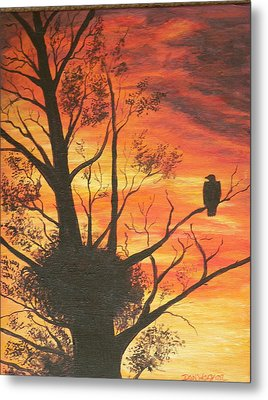 Metal Print featuring the painting Sunset Eagle by Dan Wagner