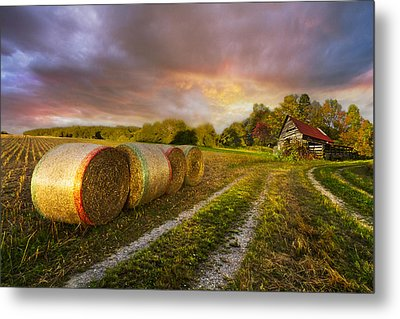 Sunset Farm Metal Print by Debra and Dave Vanderlaan