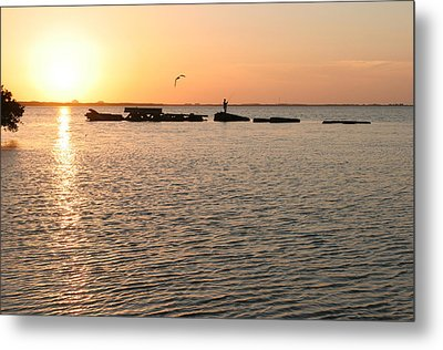 Sunset Fish Metal Print