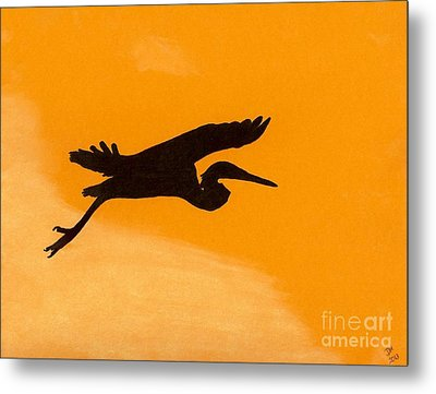 Metal Print featuring the drawing Sunset Flight by D Hackett