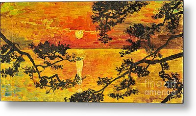 Metal Print featuring the painting Sunset For My Parents by Teresa Wegrzyn