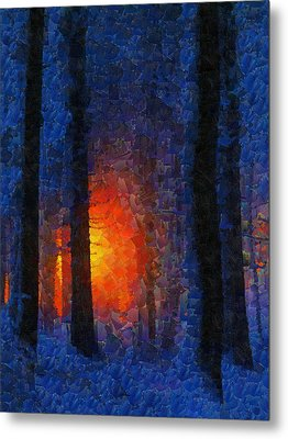 Sunset Forest Winter Metal Print