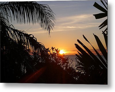 Sunset From Terrace - St. Lucia Metal Print by Nora Boghossian