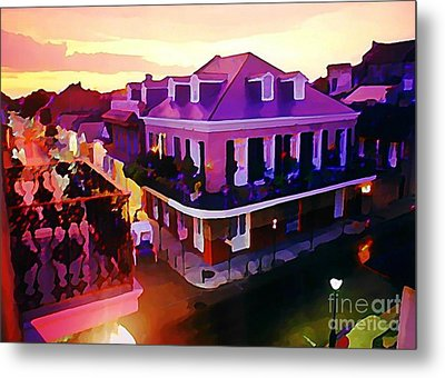 Sunset From The Balcony In The French Quarter Of New Orleans Metal Print by John Malone