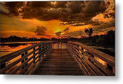Sunset From The Dock Metal Print by Don Durfee