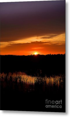 Metal Print featuring the photograph Sunset From The Huntington Beach Causeway by Kathy Baccari