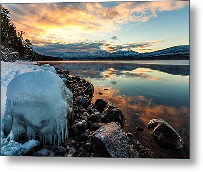 Metal Print featuring the photograph Sunset Frozen by Aaron Aldrich