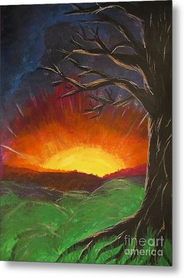 Sunset Glowing Beyond The Bare Tree Landscape Painting Metal Print by Adri Turner