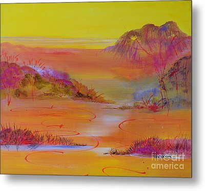 Metal Print featuring the painting Sunset Hills by Lyn Olsen