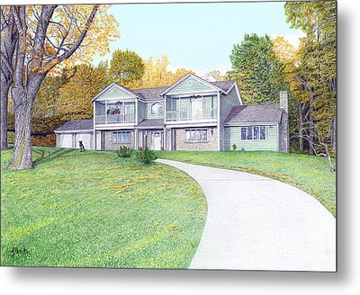Sunset House In Fall Metal Print