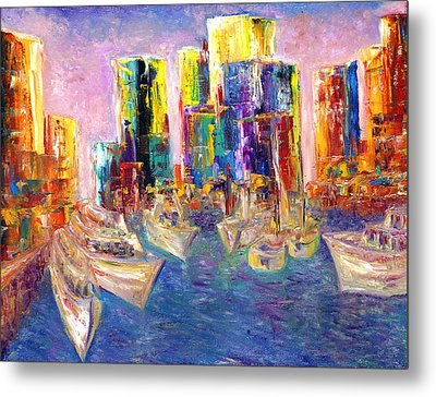 Sunset In A Harbor Metal Print by Helen Kagan