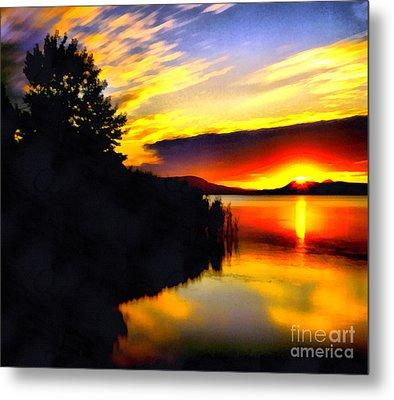 Sunset In Balaton Lake Metal Print by Odon Czintos