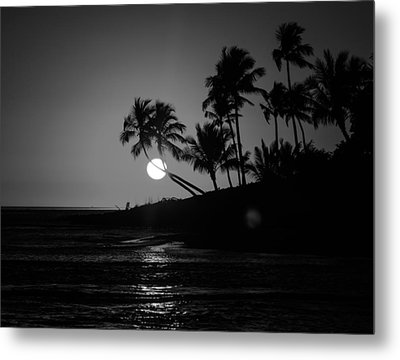 Sunset In Black And White Metal Print