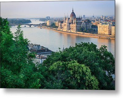 Sunset In Budapest Metal Print