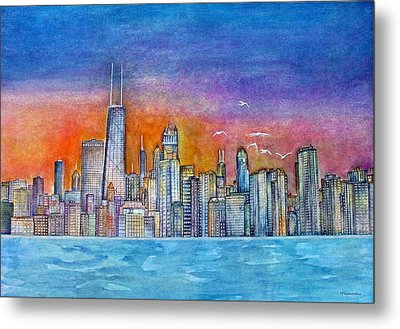 Sunset In Chi Town Metal Print