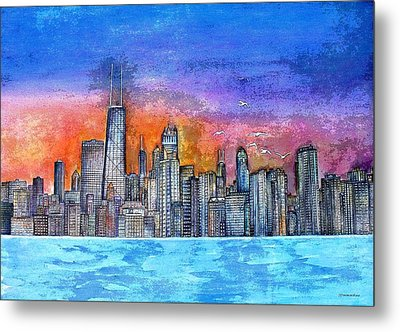 Sunset In Chicago Metal Print
