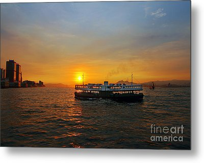 Sunset In Hong Kong With Star Ferry Metal Print by Lars Ruecker