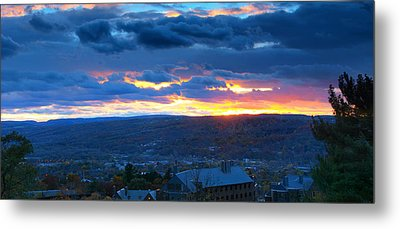 Sunset In Ithaca New York Panoramic Photography Metal Print by Paul Ge