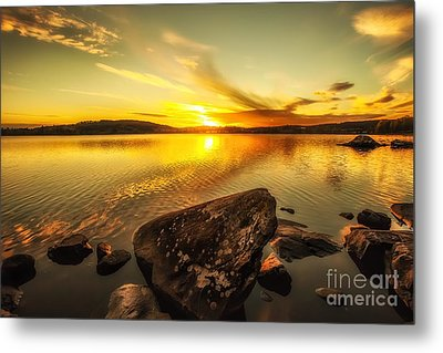 Metal Print featuring the photograph Sunset In Our Little Village  by Rose-Maries Pictures