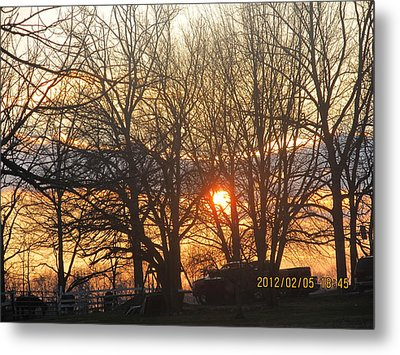 Sunset In Progress Stage Three Metal Print by Tina M Wenger