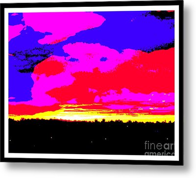 Sunset In Red Blue Yellow Pink Metal Print by Roberto Gagliardi