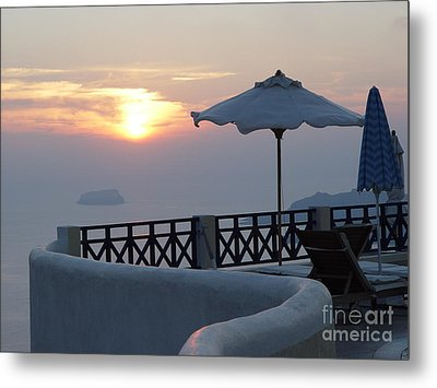 Sunset In Santorini Metal Print by Nancy Bradley