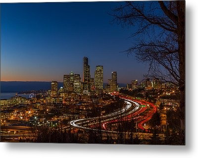 Sunset In Seattle Metal Print