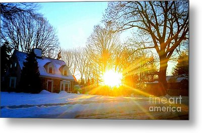 Snowy Sunset 2 Metal Print by Rose Wang