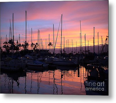 Sunset In The Ala Wai Metal Print