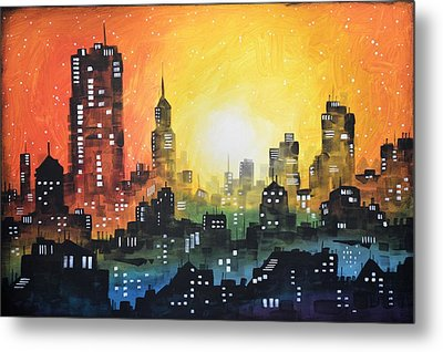 Metal Print featuring the painting Sunset In The City by Amy Giacomelli
