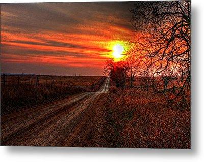 Sunset In The Country Metal Print by Karen McKenzie McAdoo