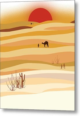 Sunset In The Desert Metal Print by Neelanjana  Bandyopadhyay