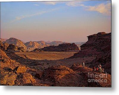 Sunset In The Wadi Rum Desert Jordan Metal Print