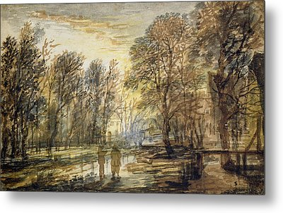 Sunset In The Wood Metal Print by Aert van der Neer