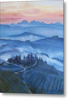 Sunsets In Tuscany Italy Metal Print by Lisa Boyd