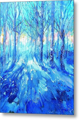 Sunset In A Winter Wood  Metal Print by Trudi Doyle