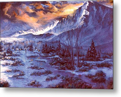 Sunset Indian Village Metal Print by Donna Tucker