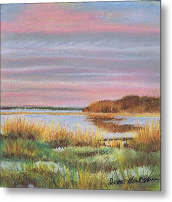 Metal Print featuring the painting Sunset Jessups Neck by Susan Herbst
