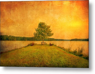 Sunset Lake And Benches Metal Print by Gregory W Leary