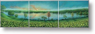 Sunset Lake Triptych Metal Print