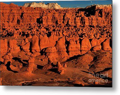 Sunset Light Turns The Hoodoos Blood Red In Goblin Valley State Park Utah Metal Print