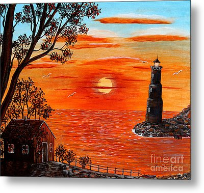 Sunset Lighthouse Metal Print by Barbara Griffin