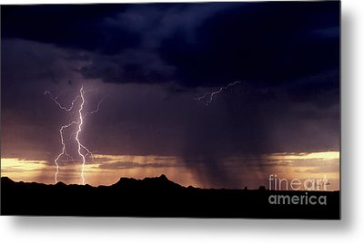 Metal Print featuring the photograph Sunset Lightning-signed by J L Woody Wooden