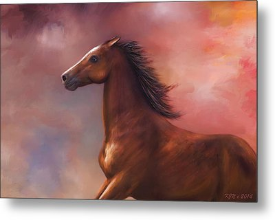 Sunset Mustang Metal Print